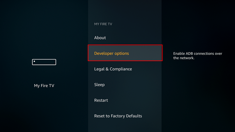 Select Developer options on Firestick
