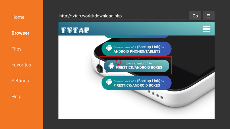 Scroll down to TVTap Firestick