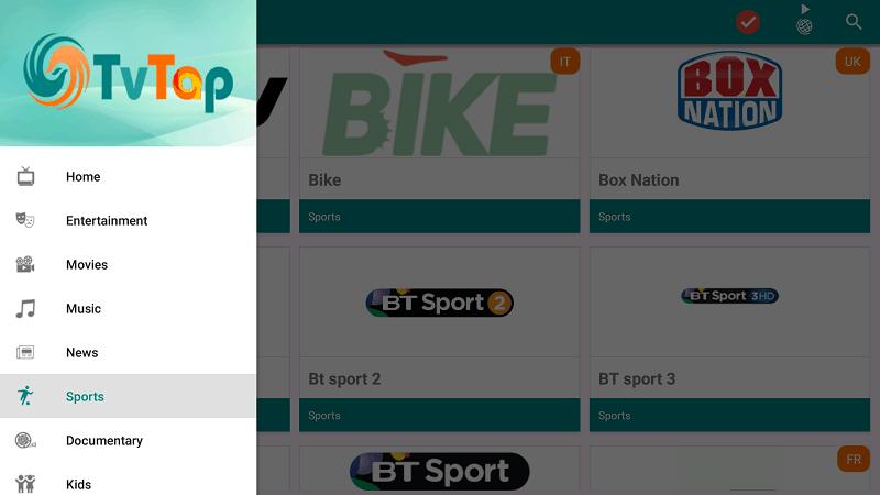 TVTap home screen