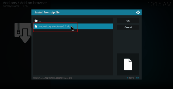 Select the zip file name of stepto repository