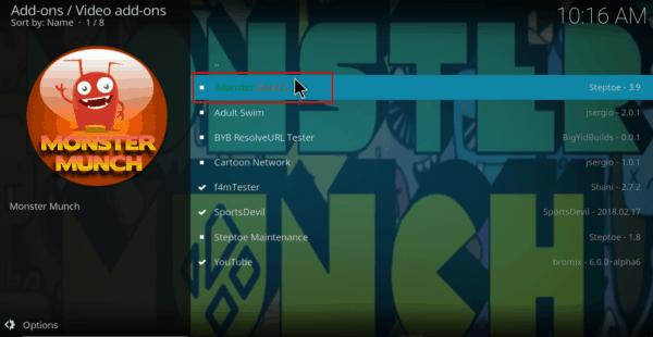 Select Monster Munch Addon on Kodi