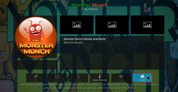 Select Install to install Monster Munch on Kodi
