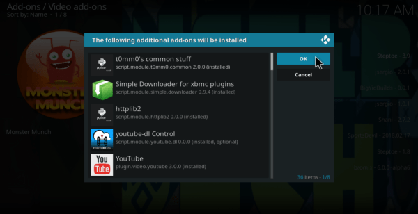 Acknowledge the additional addons install for kodi 18