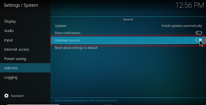 Turn on Unknown sources, before proceed with the Install Nemesis AIO Addon on Kodi