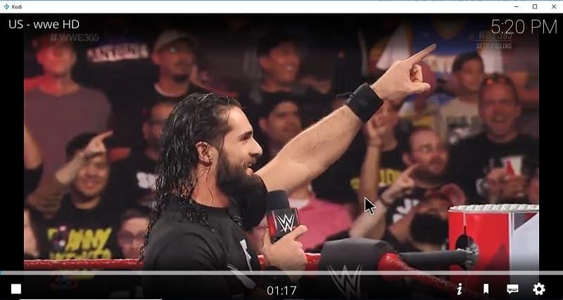 Un exemple d'un match de WWE sur une chaîne US, en passant par l'extension TvTap de Kodi